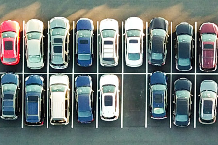 Photo of a car park from above