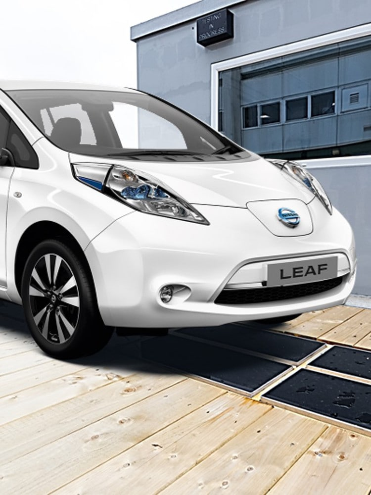 Photo of Nissan Leaf car on wireless charging pad
