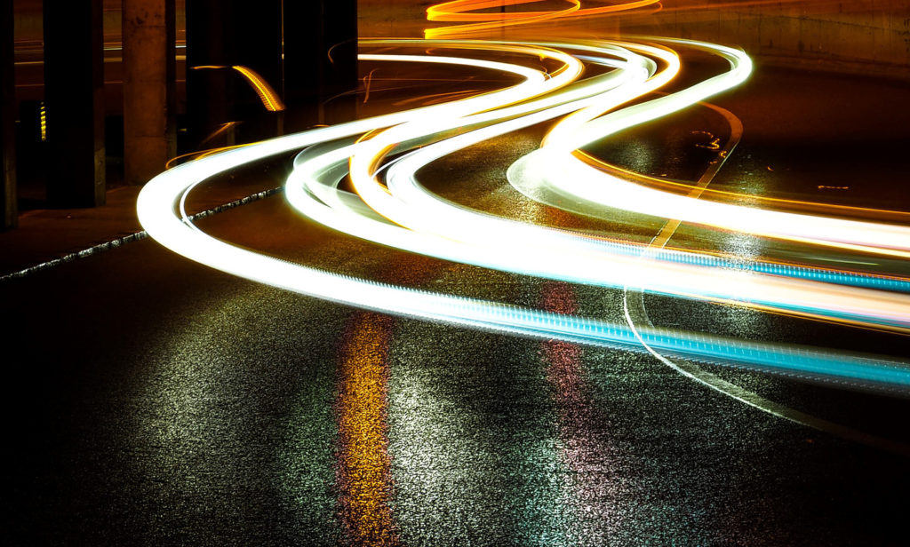 Timelapse photo of streams of light made by cars